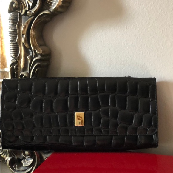 48ad64afb36 Furla Bags | Vintage Croc Embossed Leather Clutch | Poshmark